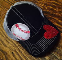 Baseball Mesh Backed Mega Cap With Glitter Heart