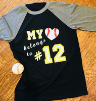 My Heart Belongs Baseball Tee