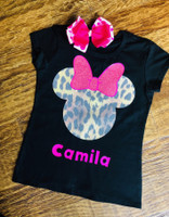 Minnie Mouse Tee in Cheetah Glitter