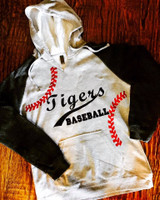 Baseball Seams Hooded Raglan FleeceSweatshirt with Custom Name