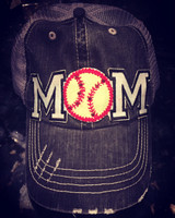 Softball Mom Tattered Baseball Cap