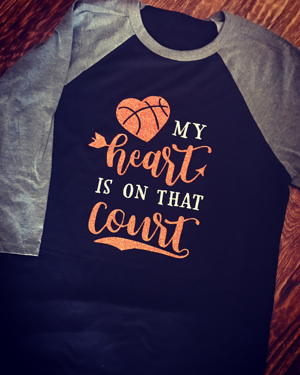 ebe15e9be99 My Heart Is On That Court Basketball Tee