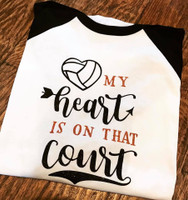My Heart Is On That Court Volleyball Tee