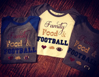 Family Food And Football Custom Thanksgiving Raglan Tee