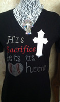 1 Sample Sacrifice tee, ladies medium runs small