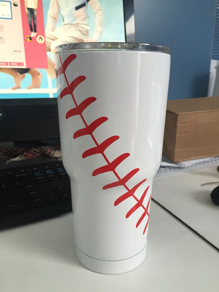 e5658acc6c9 ... 30 oz Stainless Steel Vacuum Insulated Cup Travel Mug with Lid  (Baseball). Image 1. Loading zoom