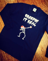Creepin It Real Baseball Skeleton Halloween Tee