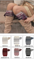 Argyle Patterned Boot Cuffs With Tassel