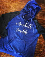 Baseball Momlife Hooded Raglan Sweatshirt