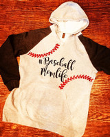 Baseball Momlife Hooded Seams Fleece