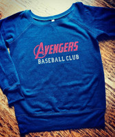 Avengers Baseball Heart Off Shoulder Fleece