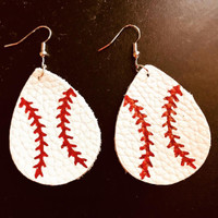 Printed Leather Baseball  Earrings