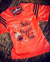 Biggest Fan Little Sister Football Tee