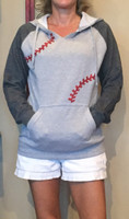 Baseball Seams Hooded Raglan Fleece Sweatshirt Size 4X