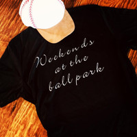 Weekends at The Ballpark Softstyle Tee in Black