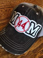 Baseball Mom Tattered Baseball Cap with Custom Number