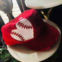 Military Style Baseball Motif Cap in Red