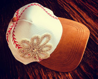 Printed Baseball Stitches Cap with Bling