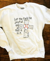 Sample PSALM 96:12 LET THE FIELD BE JOYFUL BASEBALL FLEECE SIZE XL only