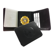 Tri-Fold Leather Badge Wallet