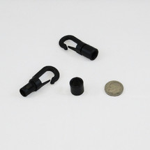 "4 Black Plastic Hooks for 1/4"" Bungee"