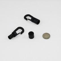 """4 Black Plastic Hooks for 1/4"""" Bungee"""