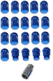 "20) Dorman 713-275D Blue Acorn Wheels Rims Lock Lug Nuts Set Blue 1/2"" Thread #NI100820"