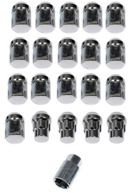 "20) Dorman 713-275 Chrome Acorn Wheels Rims Lock Lug Nuts Set Black 1/2"" Thread #NI100820"