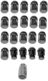 "20) Dorman 713-275A Black Acorn Wheels Rims Lock Lug Nuts Set Black 1/2"" Thread #NI100820"