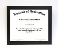 10x12 Diploma Frame - Wide Satin Black (no matting)