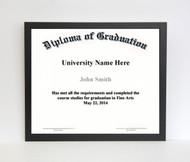 8 1/2x11 Diploma Frame - Thin Satin Black (no matting)