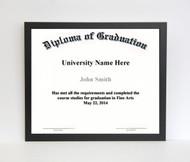 10x12 Diploma Frame - Thin Satin Black (no matting)