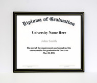 10x12 Diploma Frame - Black with Gold Lines (no matting)