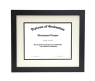 10x12 Matted Diploma Frame - Wide Satin Black - Cream and Black Matting