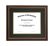 10x12 Matted Diploma Frame - Dark Cherry with Gold Lip - Black with Gold Matting