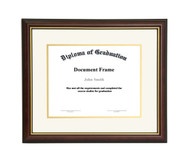 10x12 Matted Diploma Frame - Dark Cherry with Gold Lip - Cream with Gold Matting