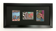 ACEO Picture Frame - fits three ATC prints - thin black wood with black matting #2