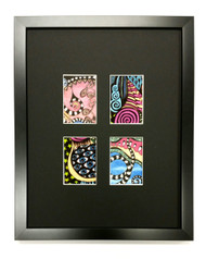 ACEO Picture Frame - fits four ATC prints - thin black wood with black matting