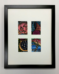 ACEO Picture Frame - fits four ATC prints - thin black wood with white matting