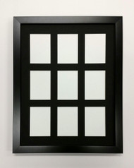 ACEO Picture Frame - fits nine ATC prints - thin black wood with black matting