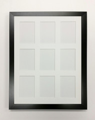ACEO Picture Frame - fits nine ATC prints - thin black wood with white matting