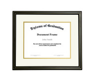 10x12 Matted Diploma Frame - Black with Gold Lines - Cream with Gold Matting