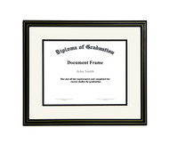 10x12 Matted Diploma Frame - Black with Gold Lines - Cream with Black Matting