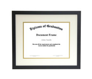 10x12 Matted Diploma Frame - Thin Satin Black - Cream with Gold Matting