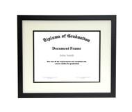 10x12 Matted Diploma Frame - Thin Satin Black - Cream with Black Matting