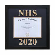 Diploma Frame w/ Custom Matting - Vertical Orientation-Thin Satin Black Frame
