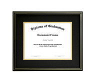 10x12 Matted Diploma Frame - Black with Gold Lines - Black with Gold Matting