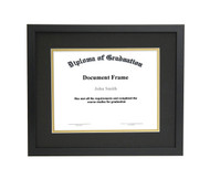 10x12 Matted Diploma Frame - Thin Satin Black - Black with Gold Matting