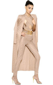 Cardigan & Leggings Two Piece Bandage Set Nude