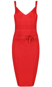 Tie Detail Bandage Dress Red